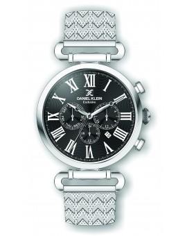 Montre Daniel Klein Homme exclusive bracelet milanais argenté fond noir
