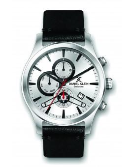 Montre Daniel Klein Homme exclusive bracelet cuir noir fond argent