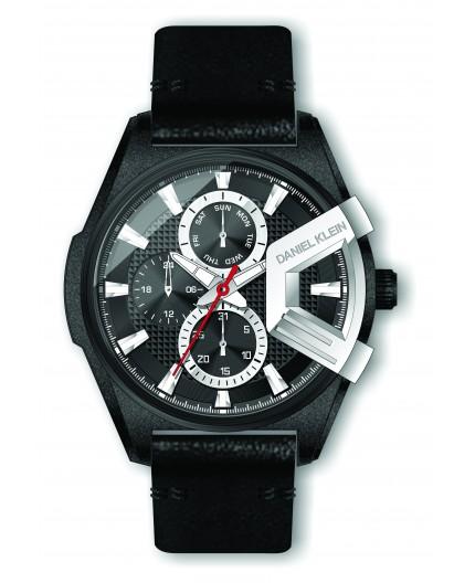 Montre Daniel Klein Homme exclusive bracelet cuir noir fond noir