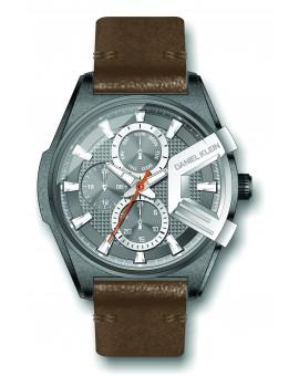 Montre Daniel Klein Homme exclusive bracelet cuir marron fond gris
