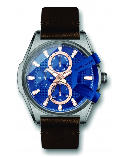 Montre Daniel Klein Homme exclusive bracelet cuir marron fond bleu