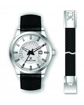Coffret Daniel Klein Homme bracelet cuir noir fond argent