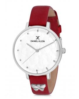 Montre Daniel Klein Femme bracelet cuir rouge fond argent