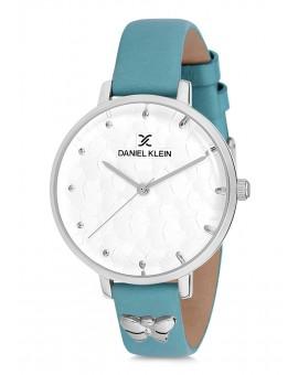Montre Daniel Klein Femme bracelet cuir bleu fond argent