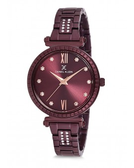 Montre Daniel Klein Femme bracelet acier marron fond prune