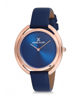 Montre Daniel Klein Femme bracelet cuir rose fond bleu