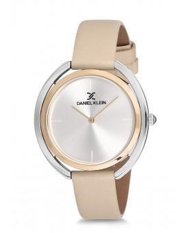 Montre Daniel Klein Femme bracelet cuir beige fond argent