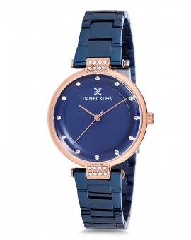 Montre Daniel Klein Femme bracelet acier bleu fond bleu