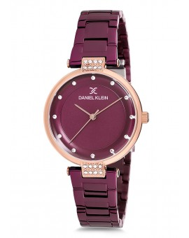 Montre Daniel Klein Femme bracelet acier  fond prune