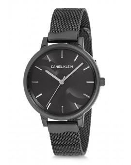 Montre Daniel Klein Femme bracelet milanais noir fond argent