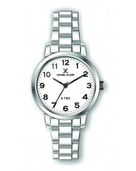 Montre Daniel klein D-TWO bracelet acier argenté fond blanc