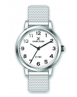 Montre Daniel klein D-TWO bracelet milanais argenté fond blanc