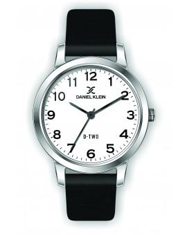 Montre Daniel klein D-TWO bracelet cuir noir fond blanc