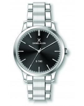 Montre Daniel klein D-TWO bracelet acier argenté fond noir