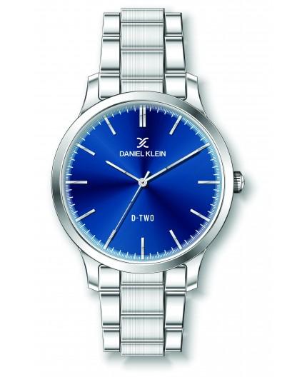 Montre Daniel klein D-TWO bracelet acier argenté fond bleu