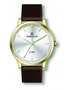Montre Daniel klein D-TWO bracelet cuir marron fond argent