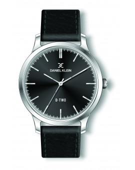 Montre Daniel klein D-TWO bracelet cuir noir fond noir