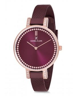 Montre Daniel Klein Femme bracelet milanais marron fond marron