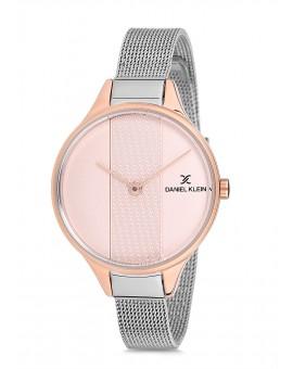 Montre Daniel Klein Femme bracelet milanais argenté fond rose