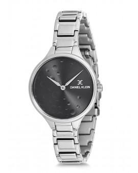 Montre Daniel Klein Femme bracelet acier argenté fond noir