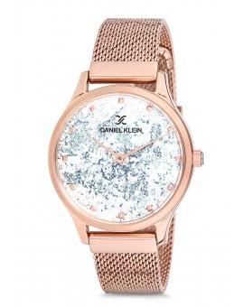 Montre Daniel Klein Femme bracelet milanais rose fond argent