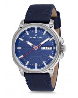 Montre Daniel Klein Homme bracelet cuir bleu fond bleu