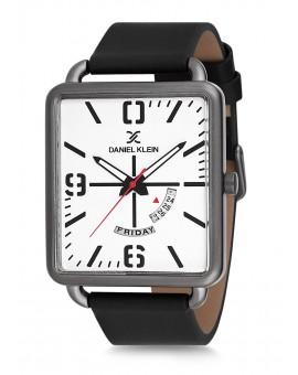 Montre Daniel Klein Homme bracelet cuir noir fond blanc
