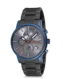 Montre Daniel Klein Homme Exclusive bracelet acier noir fond argent