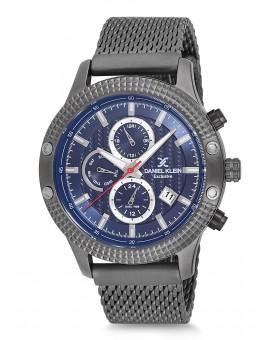 Montre Daniel Klein Homme Exclusive bracelet milanais gris fond bleu
