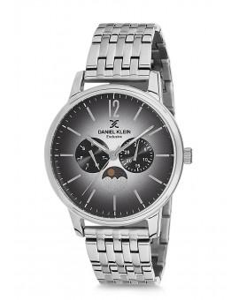 Montre Daniel Klein Homme Exclusive bracelet acier argenté fond noir