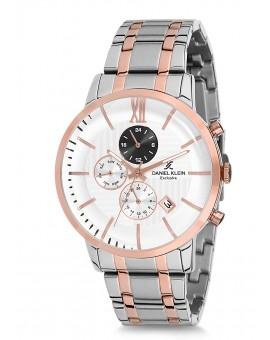 Montre Daniel Klein Homme Exclusive bracelet acier rose fond blanc