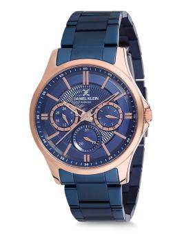 Montre Daniel Klein Homme Exclusive bracelet acier bleu fond bleu