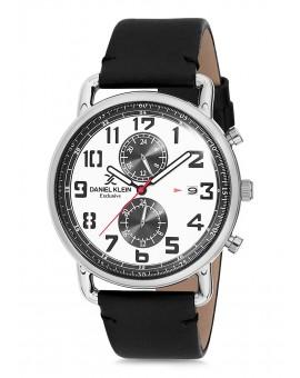 Montre Daniel Klein Homme Exclusive bracelet cuir noir fond blanc