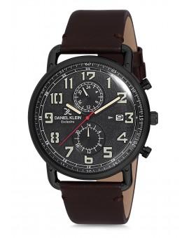 Montre Daniel Klein Homme Exclusive bracelet cuir marron fond noir