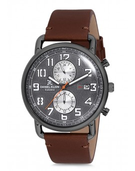 Montre Daniel Klein Homme Exclusive bracelet cuir marron fond argent