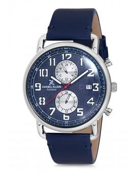 Montre Daniel Klein Homme Exclusive bracelet cuir bleu fond bleu