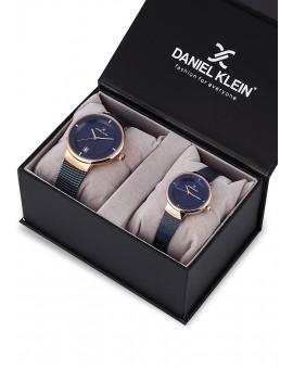 Montre Coffret Daniel Klein Homme et Femme bracelet milanais bleu fond bleu