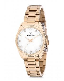Montre Daniel Klein Femme bracelet acier doré fond blanc