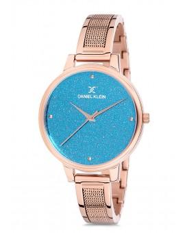 Montre Daniel Klein Femme bracelet acier rose fond bleu