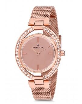 Montre Daniel Klein Femme bracelet milanais rose fond rose