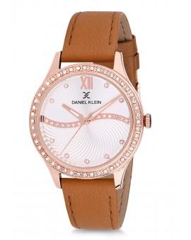 Montre Daniel Klein Femme bracelet cuir marron fond argent