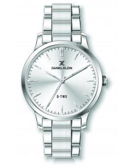 Montre Daniel klein D-TWO bracelet acier argenté fond argent