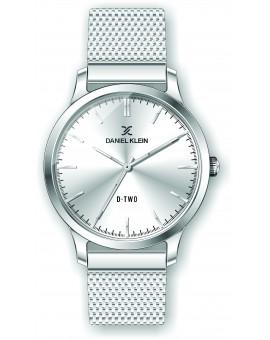 Montre Daniel klein D-TWO bracelet milanais argenté fond argent