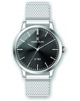 Montre Daniel klein D-TWO bracelet milanais argenté fond noir