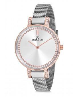 Montre Daniel Klein Femme bracelet milanais argenté fond argent