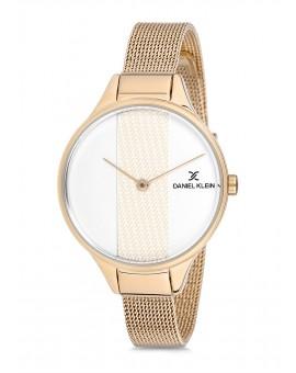 Montre Daniel Klein Femme bracelet milanais doré fond argent