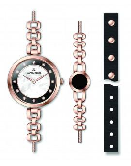 Montre Coffret Daniel Klein Femme bracelet acier rose fond noir
