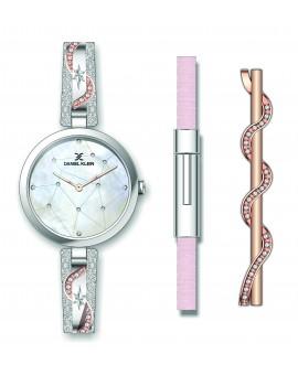 Montre Coffret Daniel Klein Femme bracelet acier rose fond blanc