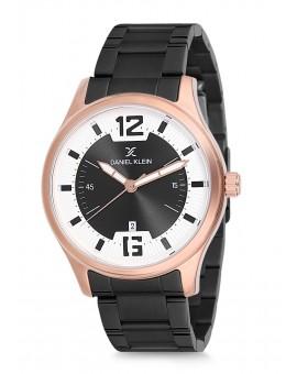 Montre Daniel Klein Homme bracelet acier noir fond noir