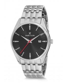 Montre Daniel Klein Homme bracelet acier argenté fond noir